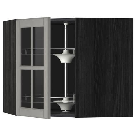 kitchen cabinet carousel corner metod corner wall cab w carousel glass dr black bodbyn grey 68x60 cm ikea