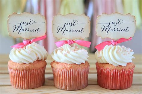 bridal shower cupcake toppers by a lollipop tree wedding cupcake toppers just married cupcake toppers wedding decoration reception