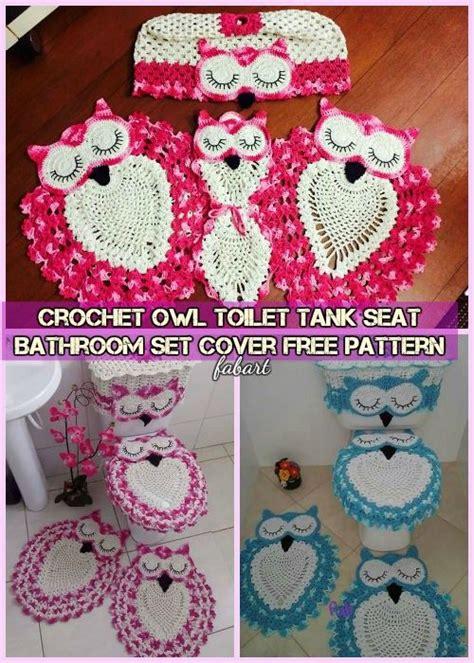 crochet owl toilet seat cover pattern diy crochet owl toilet tank seat bathroom set cover free