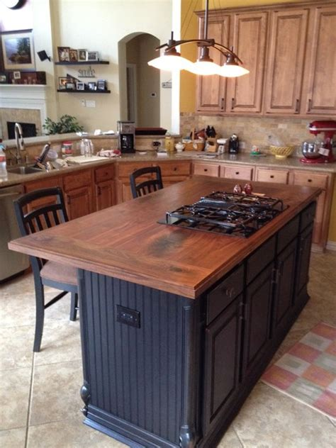 walnut island counter tops traditional kitchen