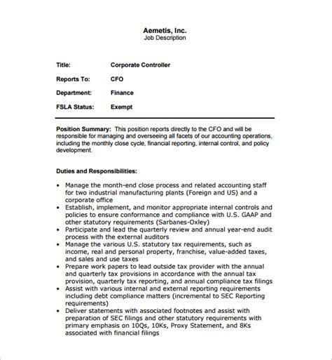 controller description template 11 free word pdf