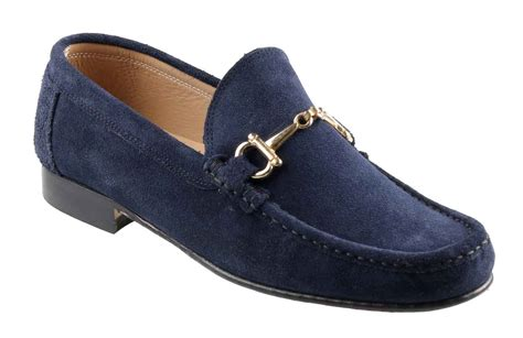 navy loafer orsini mens navy suede horsebit snaffle loafer