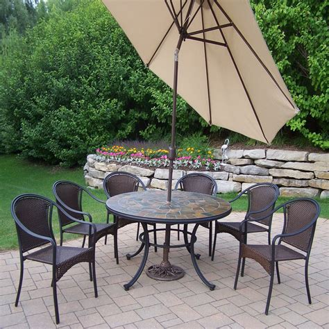 Shop Oakland Living 7 Piece Woven Wrought Iron Patio Wrought Iron Patio Dining Set