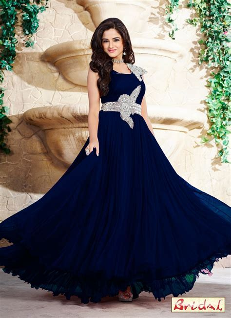 Best Embroidered Work Net Navy Blue Designer Gown