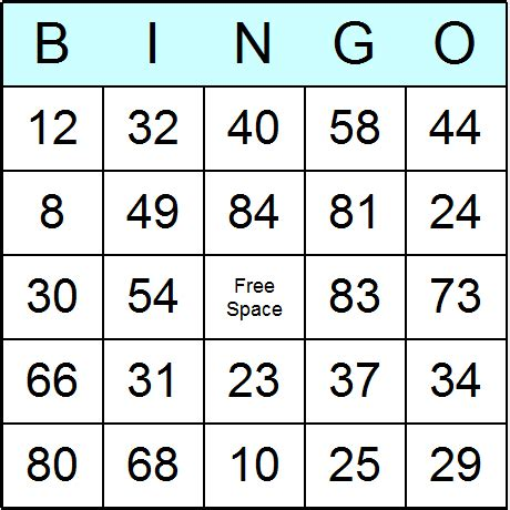 Printable Numbers 1 90   search results for free printable number bingo cards