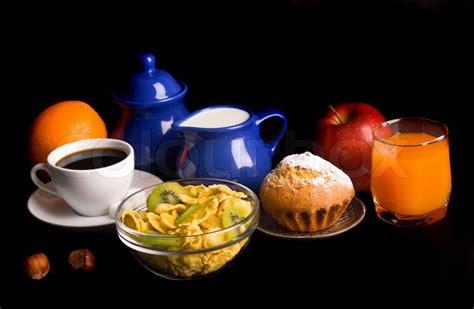 breakfast background healthy breakfast on black background stock photo