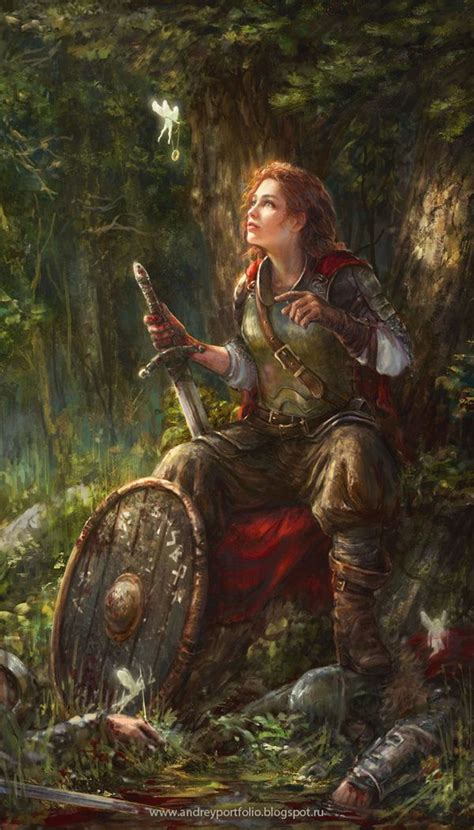 steunk fantasy art fashion reward by allnamesinuse female fighter solider sword shield fairy pixie magic ring forest woods