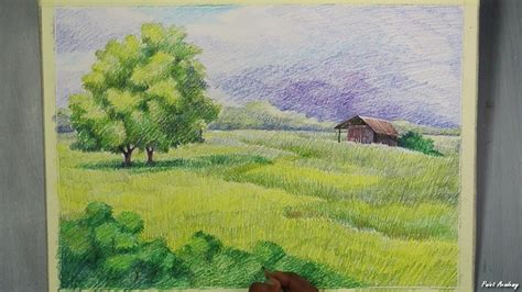 colored pencil landscape a landscape with colored pencil step by step