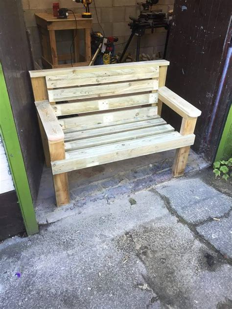 bench made with pallets diy pallet and spool benches 99 pallets