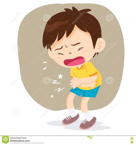 healthy fats upset stomach boy stomach ache stock vector illustration of