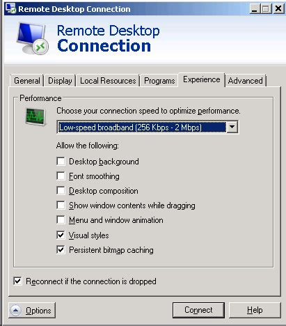 themes disabled remote desktop connection settings desktop background is turned off during remote connection