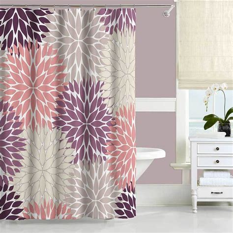 Pink And Beige Curtains Decor Dahlia Shower Curtain Purple Pink Beige