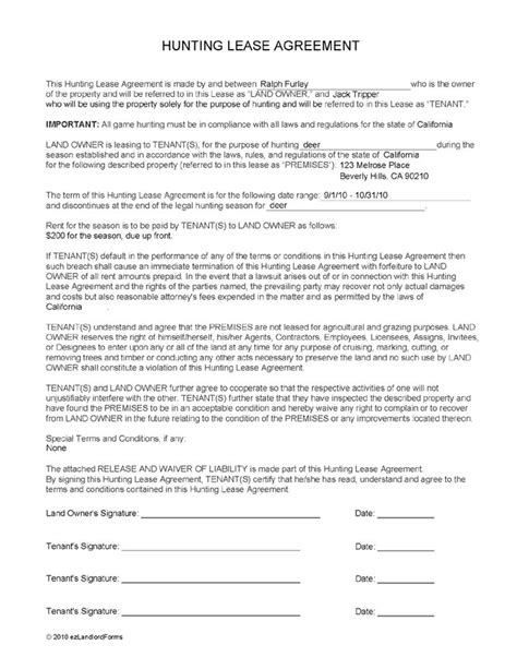 Printable Hunting Lease Agreement | hunting lease agreements lease agreements pinterest
