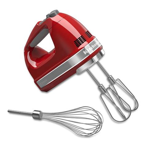 KitchenAid KHM7210ER 7 Speed Hand Mixer w/ Turbo Beater Accessories & Pro Whisk, Empire Red