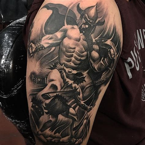 david and goliath tattoo black and grey tattoos by artist oscar morales