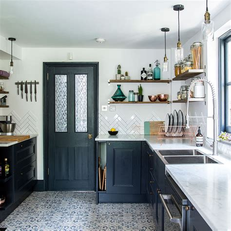 dark blue kitchen before and after from narrow space to stylish kitchen in