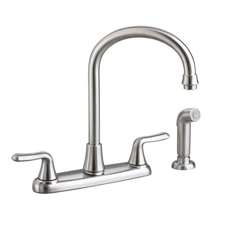 american kitchens faucet american standard colony soft 2 handle standard kitchen faucet in stainless steel 4275 551 075