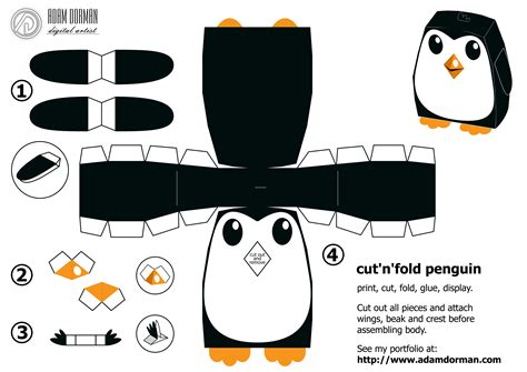 3d Paper Folding Templates - penguin by adam dorman digital artist