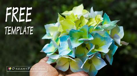 Hydrangea Paper Flower Bloombox free template how to make paper hydrangea flower from printer paper easy