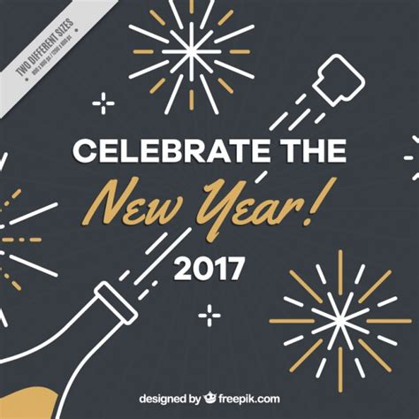 new year background free vector new year background with chagne bottle and golden