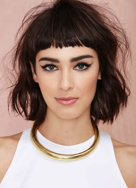 lip length bob with soft fringe front and back image 30 short wavy hairstyles for bouncy textured looks