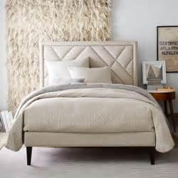 Narrow Headboard narrow leg upholstered bed frame linen weave west elm