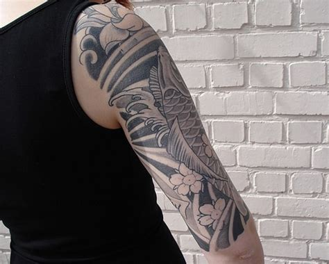 japanese snake tattoo black and grey japanese koi black ink tattoo on arm tattooimages biz