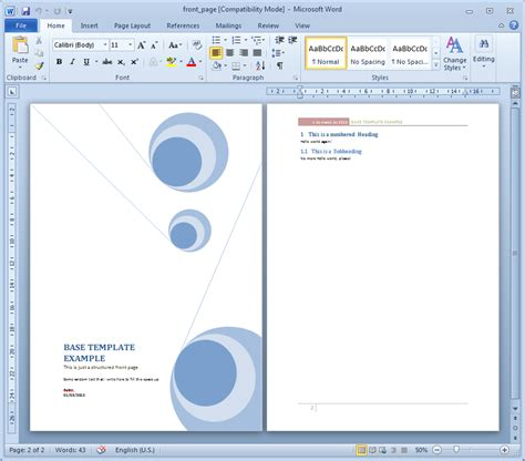 insert a cover page for document in word