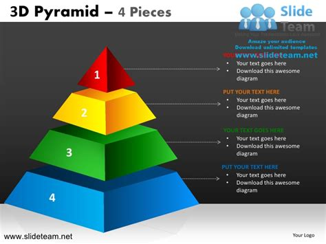 3d pyramid template 3d pyramid stacked shapes chart 4 pieces powerpoint ppt