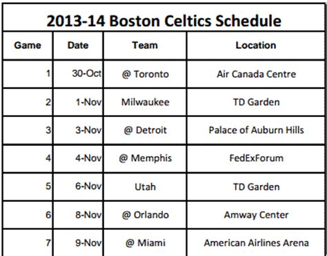 printable schedule for boston celtics printable boston celtics schedule 2013 14