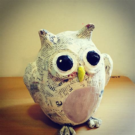 How To Make Paper Mache Animals - owl paper mache paper mache owl paper