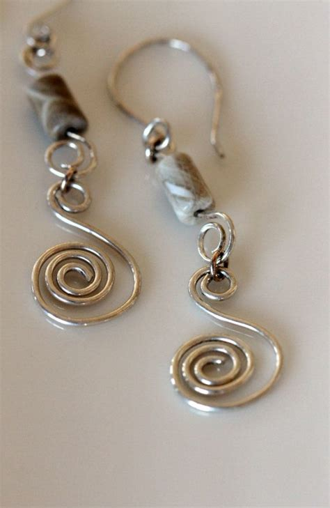 Fossil Spiral Silver handmade sterling silver spiral earrings w fossil coral
