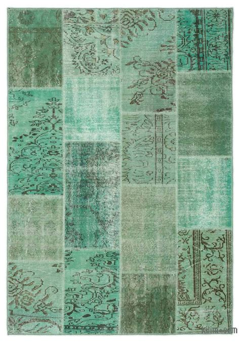 Turkish Overdyed Patchwork Rugs - k0021821 green dyed turkish patchwork rug