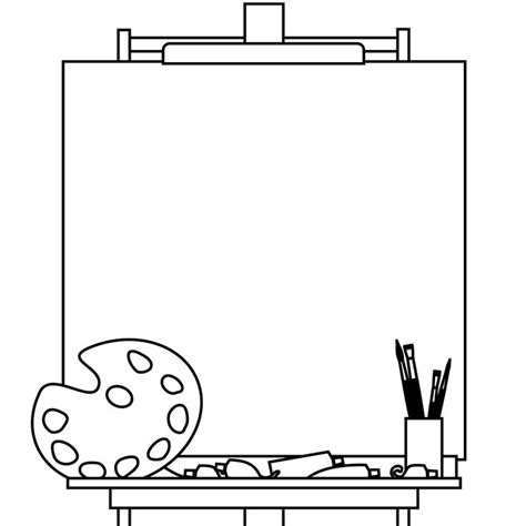 art easel coloring page easel and blank canvas 4 kids misc disney stuff
