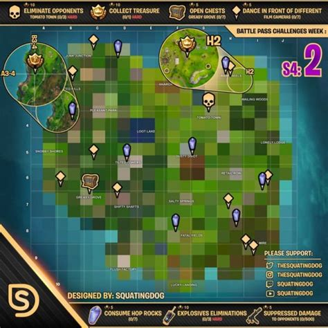fortnite week 2 challenges fortnite map shows all week 2 season 4 challenge locations