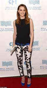 leighton meester wears floral trousers to like sunday