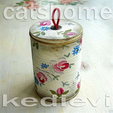 Decoupage Tins - decorative tins made by napkin decoupage 3 by catshome on