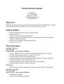 Clerical Resume Exles by Clerical Resume Exles Resume Template 2017
