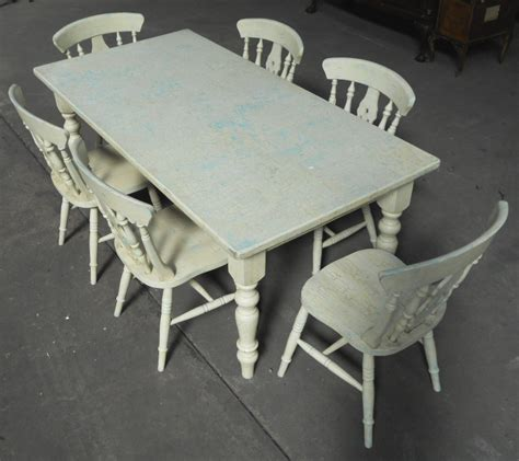 style painted kitchen table matching six chairs