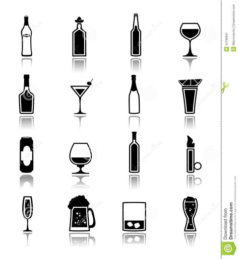 alcohol vector alcohol icons black stock vector image 41199847