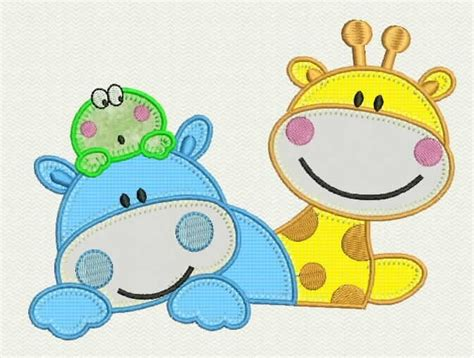 imagenes para relajar niños matriz bordado computadorizado infantil girafa hipopotamo