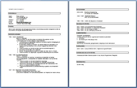 Cv Opstellen Sjabloon Cv Voorbeeld Curriculum Vitae 5 Gratis Cv Templates Downloaden