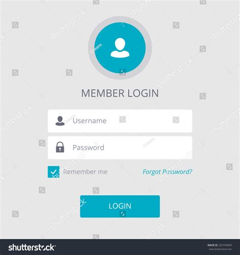 Members Login Search Member Login Flat Design White Stock Vector Illustration 225749503