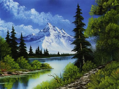bob ross painting mountain ridge kort bilder naturbilder