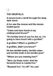 Flash Cards Paper English Worksheets The Gruffalo Readers Theatre