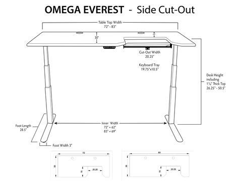 Omega Everest Stand Up Desk With Built In Steadytype Stand Up Desk Dimensions
