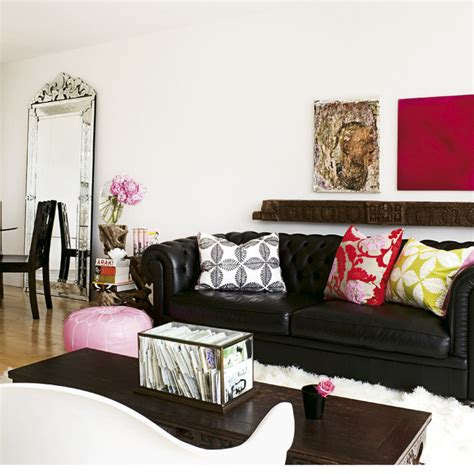 living room design with black leather sofa just chill be relax on luxury leather sofa