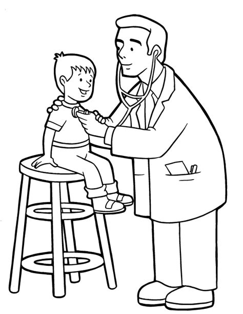 coloring page of a doctor jobs coloring kids doctors hospitals coloring pages