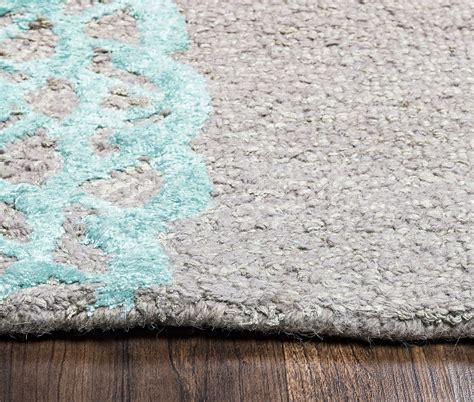 Grey Runner Rug Harbor Embossed Medallion Wool Runner Rug In Grey Pink Aqua 2 6 Quot X 8