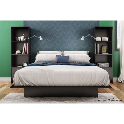 south shore cosmos 3 platform bed with bookshelf